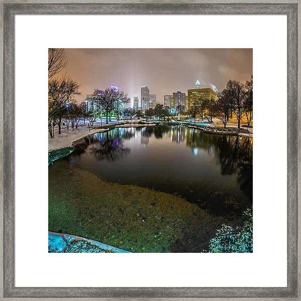 Charlotte Nc Skyline Covered In Snow In January 2014 Framed Print