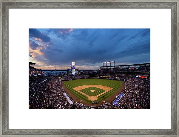 Los Angeles Dodgers V Colorado Rockies Framed Print by Justin Edmonds