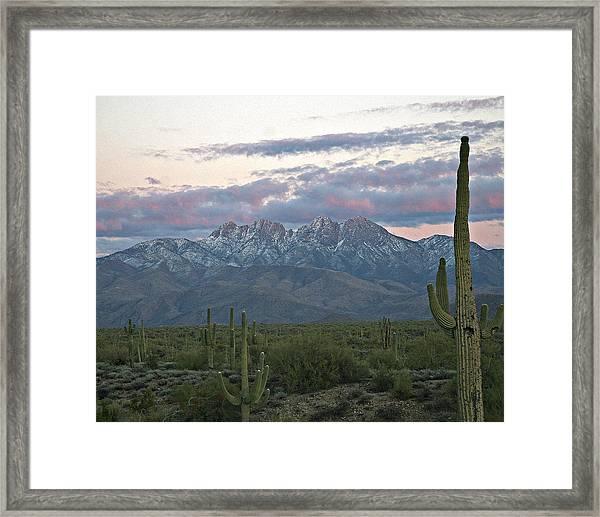 Four Peaks Sunset Snow Framed Print