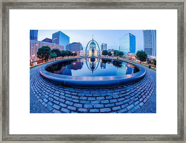 St. Louis Downtown Skyline Buildings At Night Framed Print