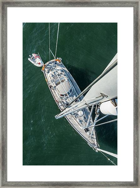 62ft Sailboat At Anchor From Top Of Mast Framed Print