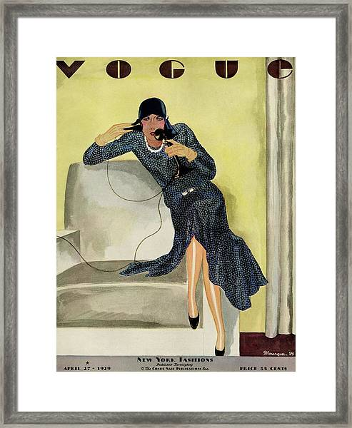 A Vintage Vogue Magazine Cover Of A Woman Framed Print