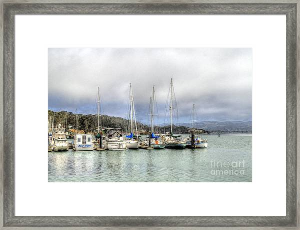 7 Boats In A Row Framed Print