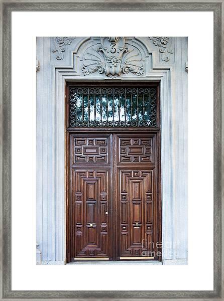 Distinctive Doors In Madrid Spain Framed Print