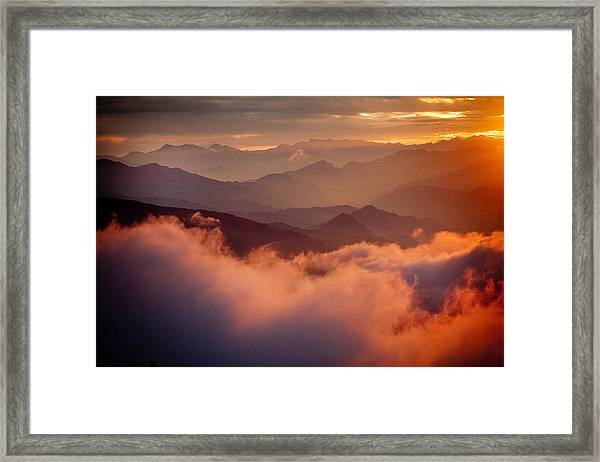 Framed Print featuring the photograph Golden Sunset Himalayas Mountain Nepal by Raimond Klavins