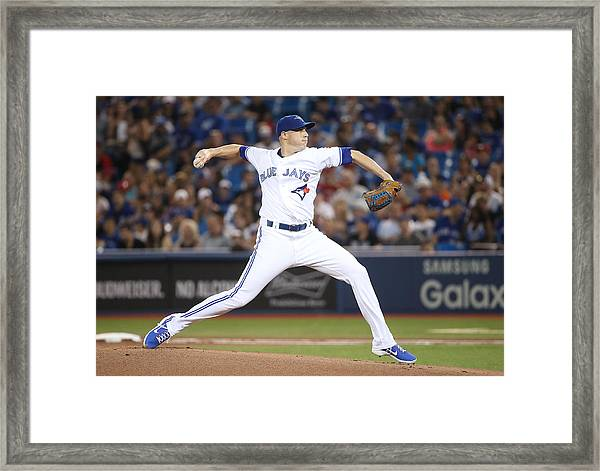 Houston Astros V Toronto Blue Jays Framed Print by Tom Szczerbowski