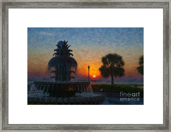 Pineapple Fountain At Dawn Framed Print