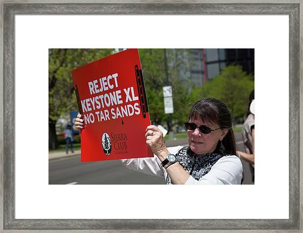 Protest Against Keystone Xl Pipeline Framed Print