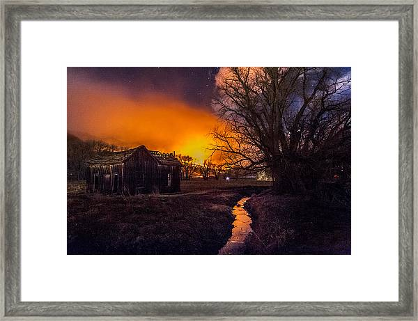 Round Fire Framed Print