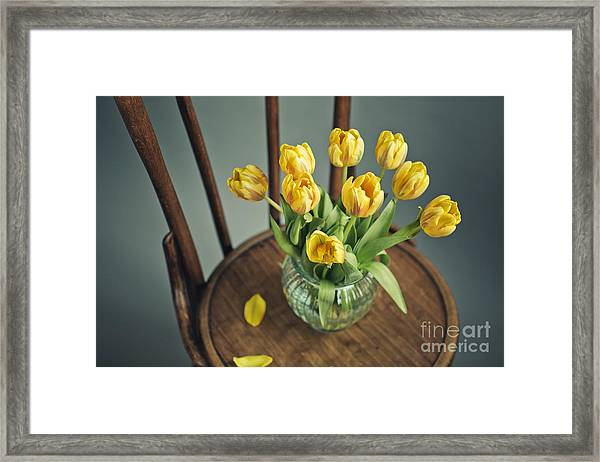 Still Life With Yellow Tulips Framed Print
