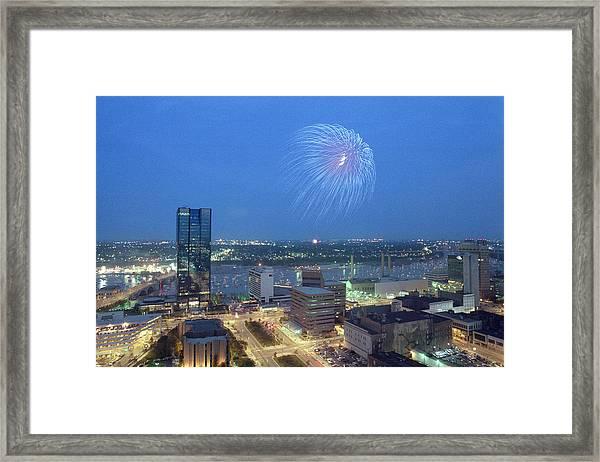7403 Toledo Twilight Ohio Fireworks Over Maumee River Framed Print