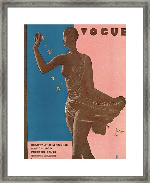 A Vintage Vogue Magazine Cover Of A Woman Framed Print by Eduardo Garcia Benito