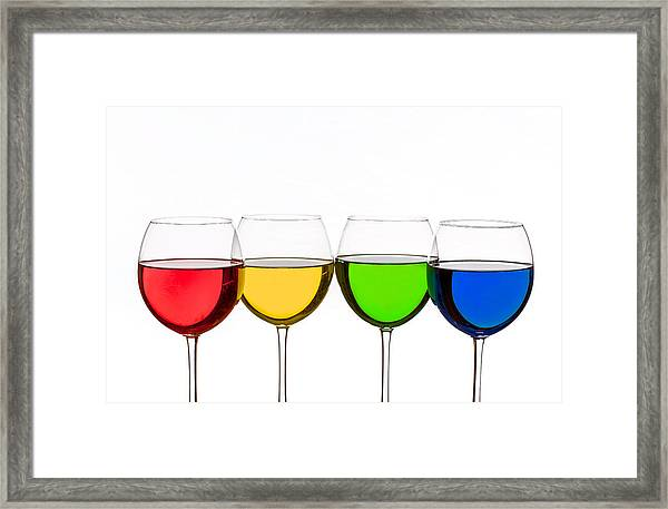 Colorful Wine Glasses Framed Print