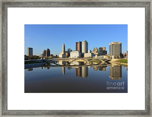 Fx1l-1058 Columbus Ohio Skyline Photo Framed Print