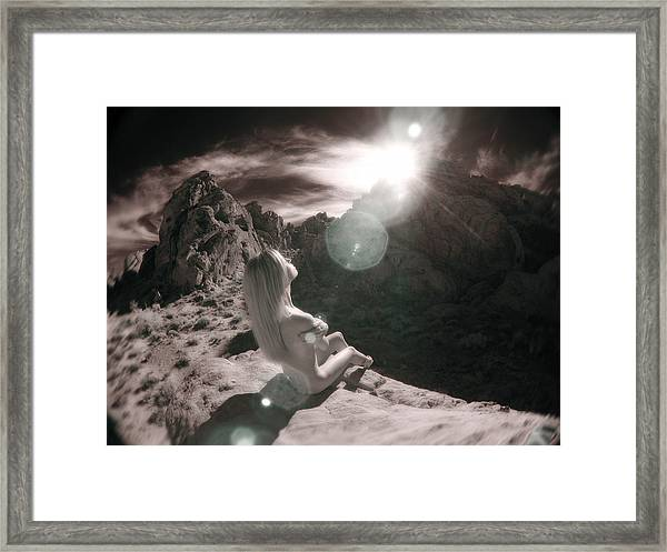 8145  Beautiful Sepia Nude In Mojave Desert Light  Framed Print