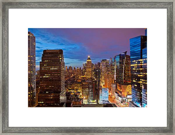 8th Avenue And 42nd Street Night Framed Print