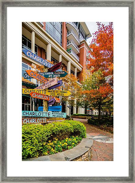 Charlotte City Skyline Autumn Season Framed Print