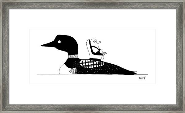 A Baby Duck In A Tiny Car Seat On The Mother Framed Print