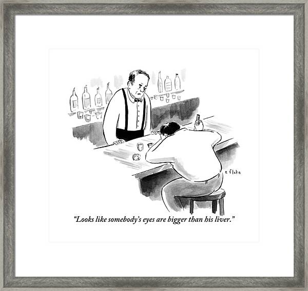A Bartender Speaks To A Man Who Is Sitting Framed Print