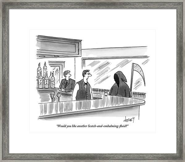 A Bartender Speaks To The Grim Reaper Framed Print