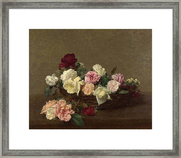 Framed Print featuring the painting A Basket Of Roses by Henri Fantin-Latour
