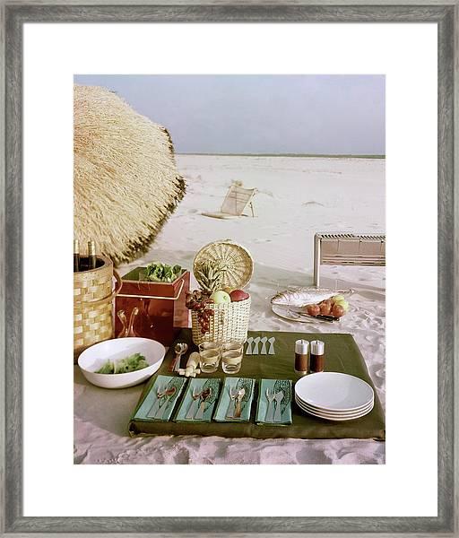 A Beach Picnic Framed Print