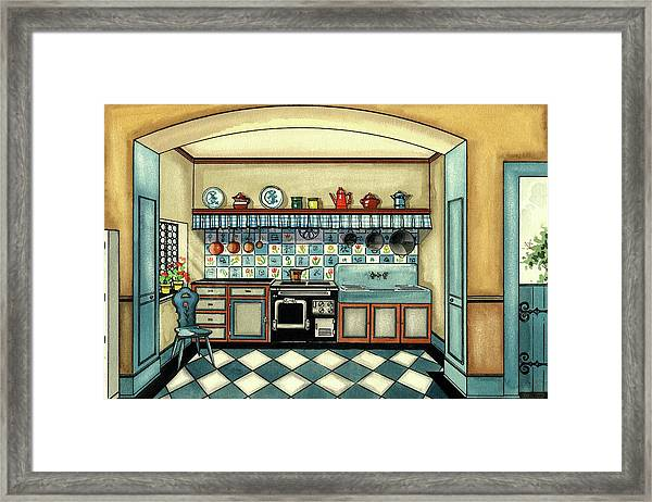 A Blue Kitchen With A Tiled Floor Framed Print