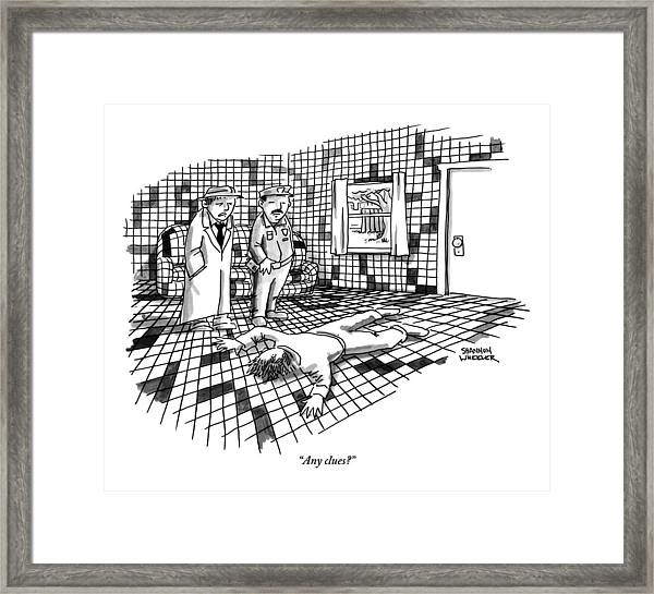 A Body Lies Face Down In A Room Where The Walls Framed Print