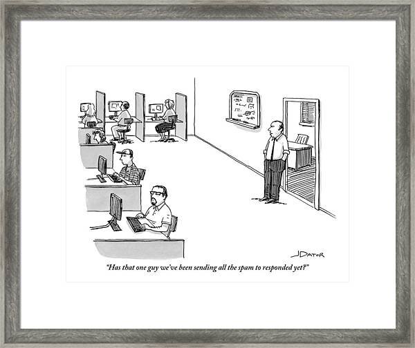A Boss Addresses A Room Full Of People Sitting Framed Print