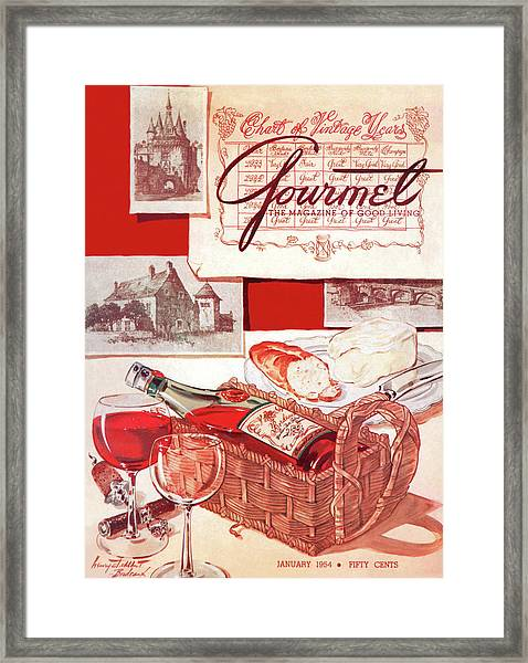 A Bottle Of Bordeaux And Some Melting Camembert Framed Print