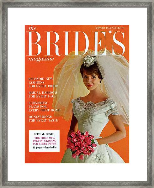 A Bridal In Wedding Dress Smiling At Camera Framed Print by Peter Oliver