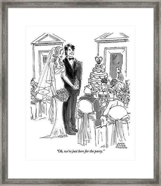 A Bride And Groom To The Guests At Their Wedding Framed Print
