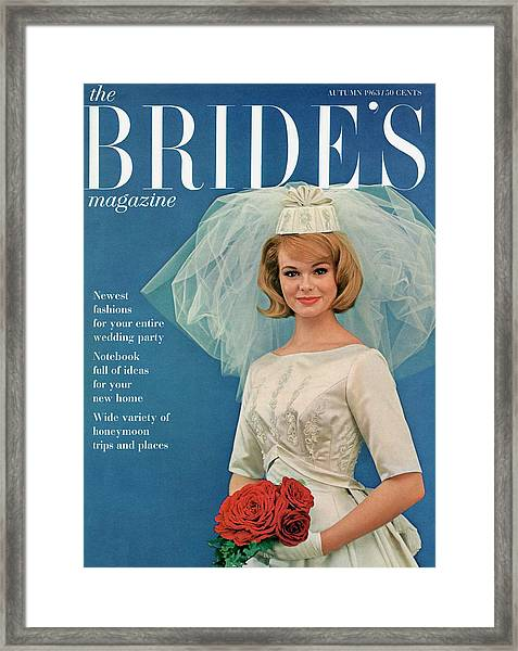 A Bride Smiling In A Wedding Gown Framed Print by Robert Randall