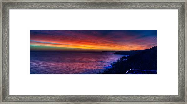 A Bright Colored Sunrise Panoramic At Scarborough Uk Framed Print