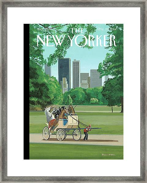 The Cart Before The Horses Framed Print by Bruce McCall
