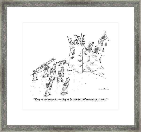 A Bunch Of Commoners File Toward A Castle Framed Print