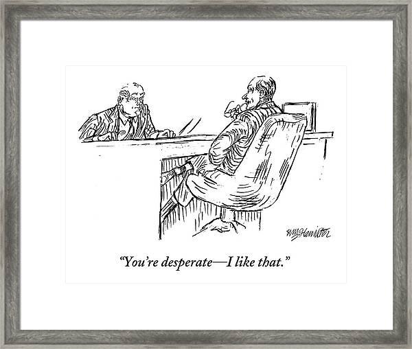 A Businessman Interviewing Another Framed Print