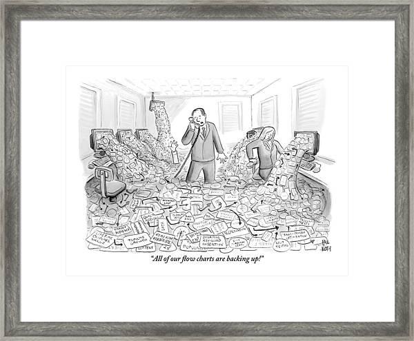 A Businessman Talks On The Phone As His Office Framed Print