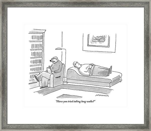A Canine Psychologist Interviews His Human Framed Print