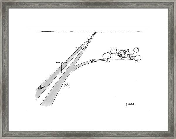 A Car Pulls Off A Highway Framed Print