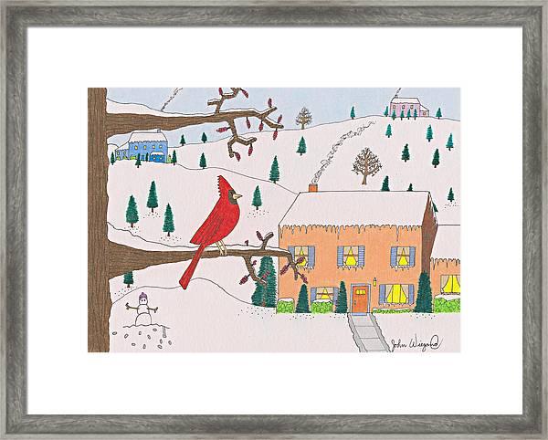 A Cardinal Christmas Framed Print