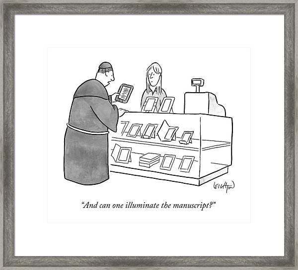 A Monk Asking About An E-reader Framed Print
