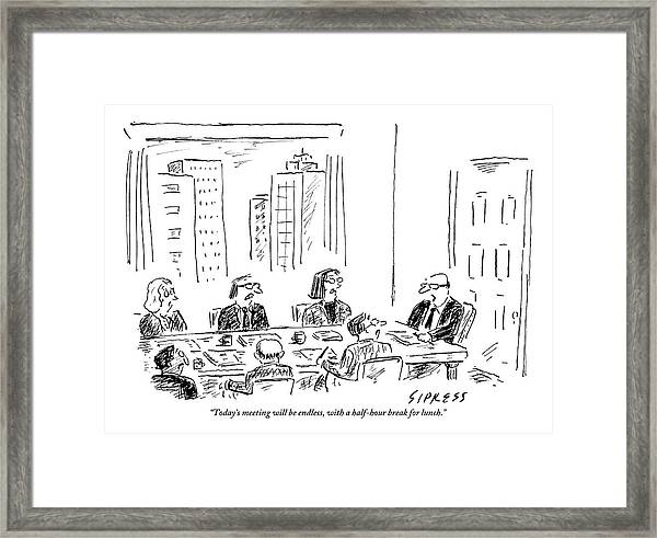 A Ceo Talks To His Board During A Board Meeting Framed Print