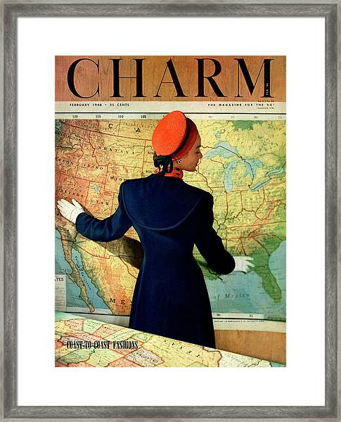 A Charm Cover Of A Model By An American Map Framed Print by Hal Reiff