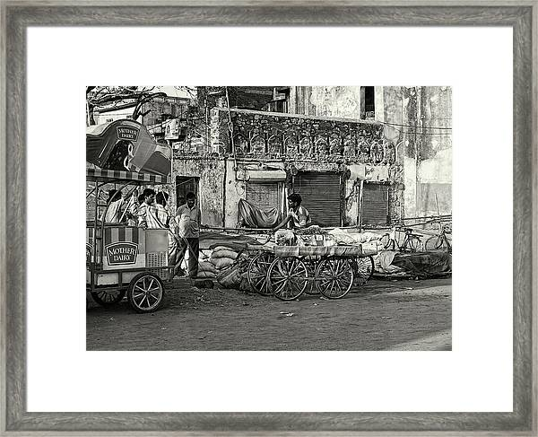 A Chat Among Friends Framed Print