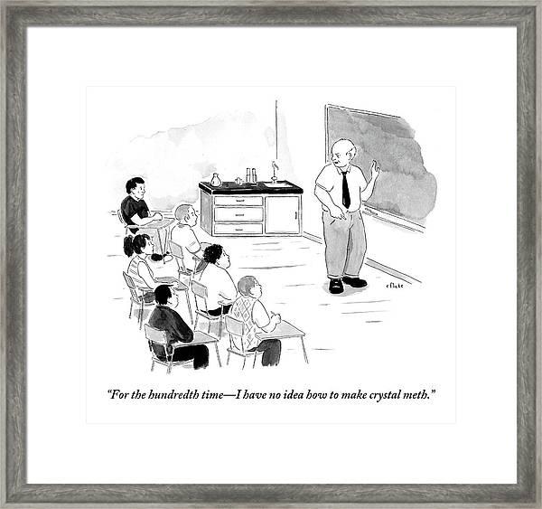 A Chemistry Teacher Addresses His Students Framed Print