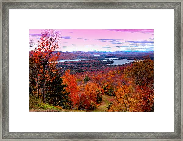 A Chilly Autumn Day On Mccauley Mountain Framed Print