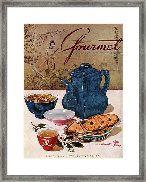 A Chinese Tea Pot With Tea And Cookies Framed Print