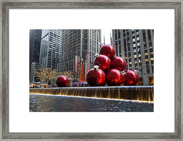 A Christmas Card From New York City - Radio City Music Hall And The Giant Red Balls Framed Print