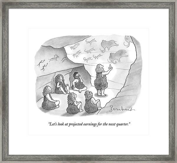 A Circle Of Cavemen Sit Around One Caveman Who Framed Print